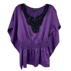 3/20 B Wear Buyer Silk Top Crochet Smocked